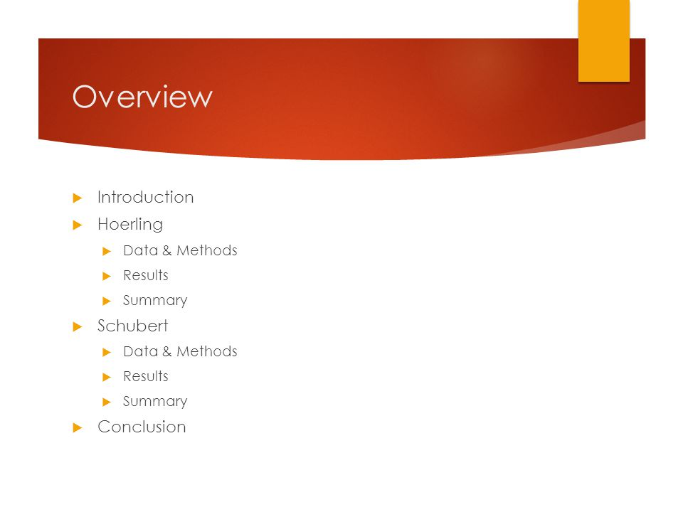Overview  Introduction  Hoerling  Data & Methods  Results  Summary  Schubert  Data & Methods  Results  Summary  Conclusion