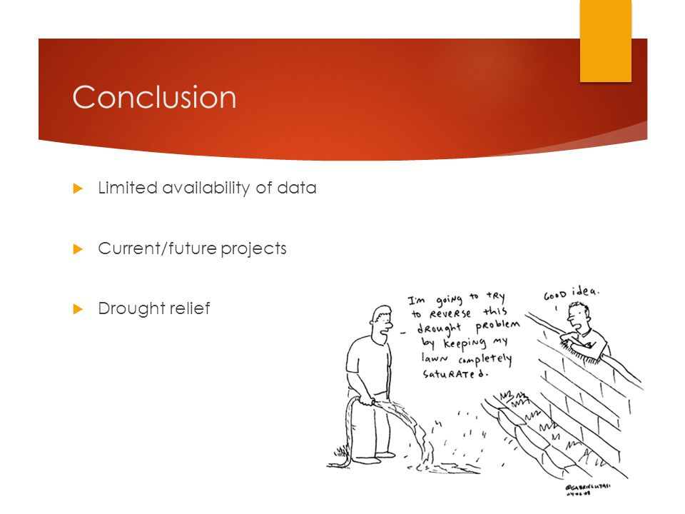 Conclusion  Limited availability of data  Current/future projects  Drought relief