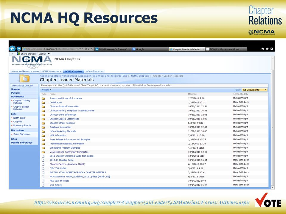 NCMA HQ Resources 13 http://resources.ncmahq.org/chapters/Chapter%20Leader%20Materials/Forms/AllItems.aspx