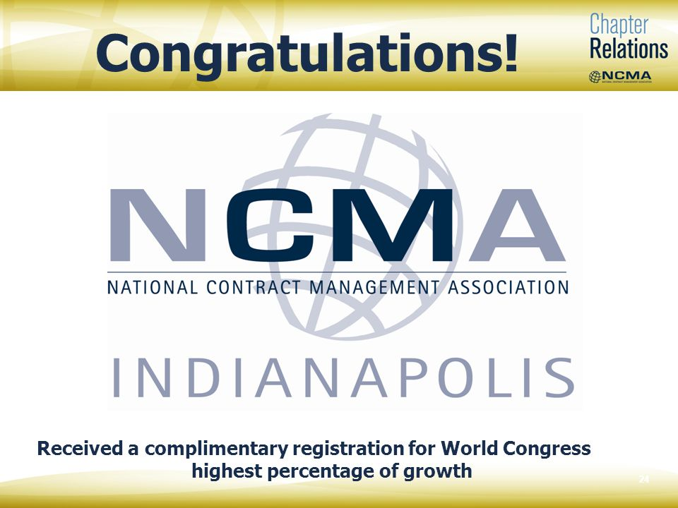 24 Congratulations! Received a complimentary registration for World Congress highest percentage of growth
