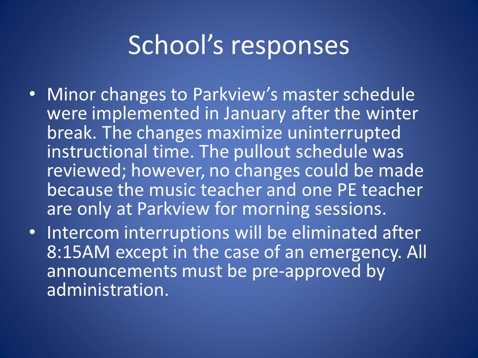 School's responses Minor changes to Parkview's master schedule were implemented in January after the winter break.