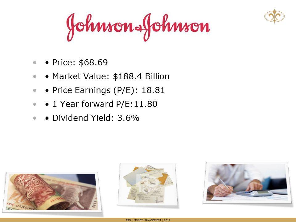 Price: $68.69 Market Value: $188.4 Billion Price Earnings (P/E): 18.81 1 Year forward P/E:11.80 Dividend Yield: 3.6%