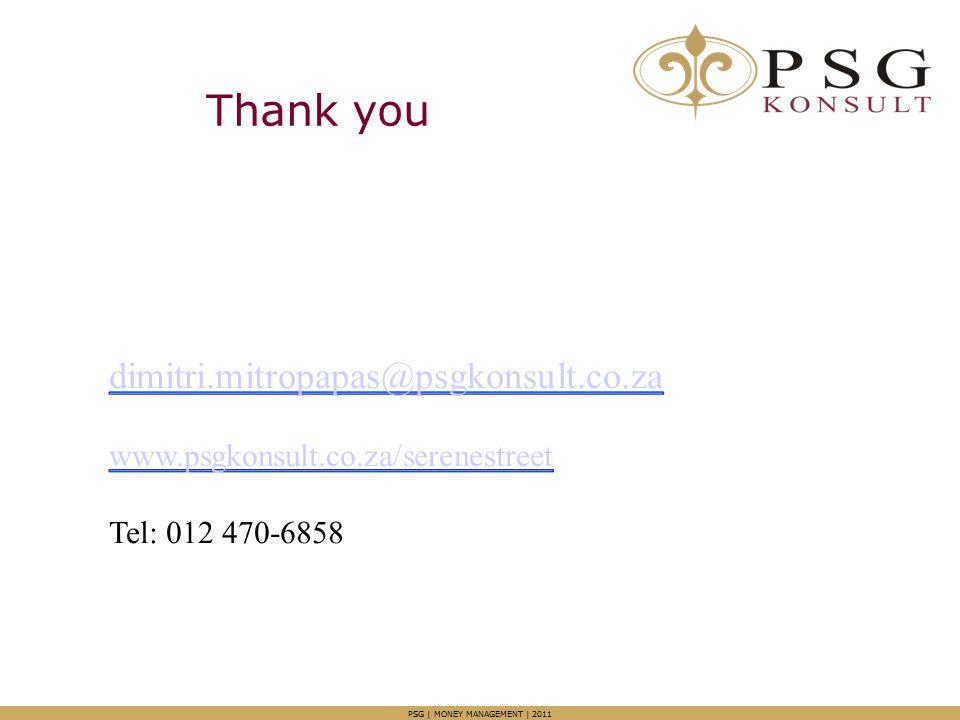 Thank you PSG | MONEY MANAGEMENT | 2011