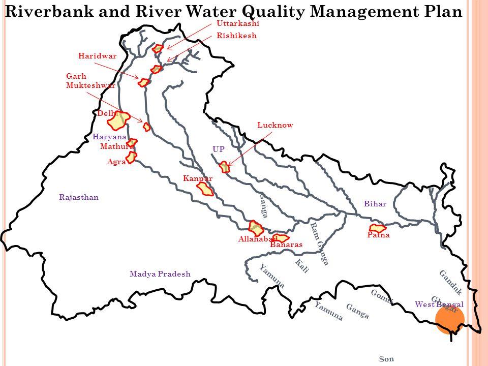 Haryana Rajasthan Madya Pradesh West Bengal Bihar UP Kanpur Yamuna Ganga Ram Ganga Kali Yamuna Gomti Ghagar Gandak Son Ganga Kosi Delhi Banaras Allaha