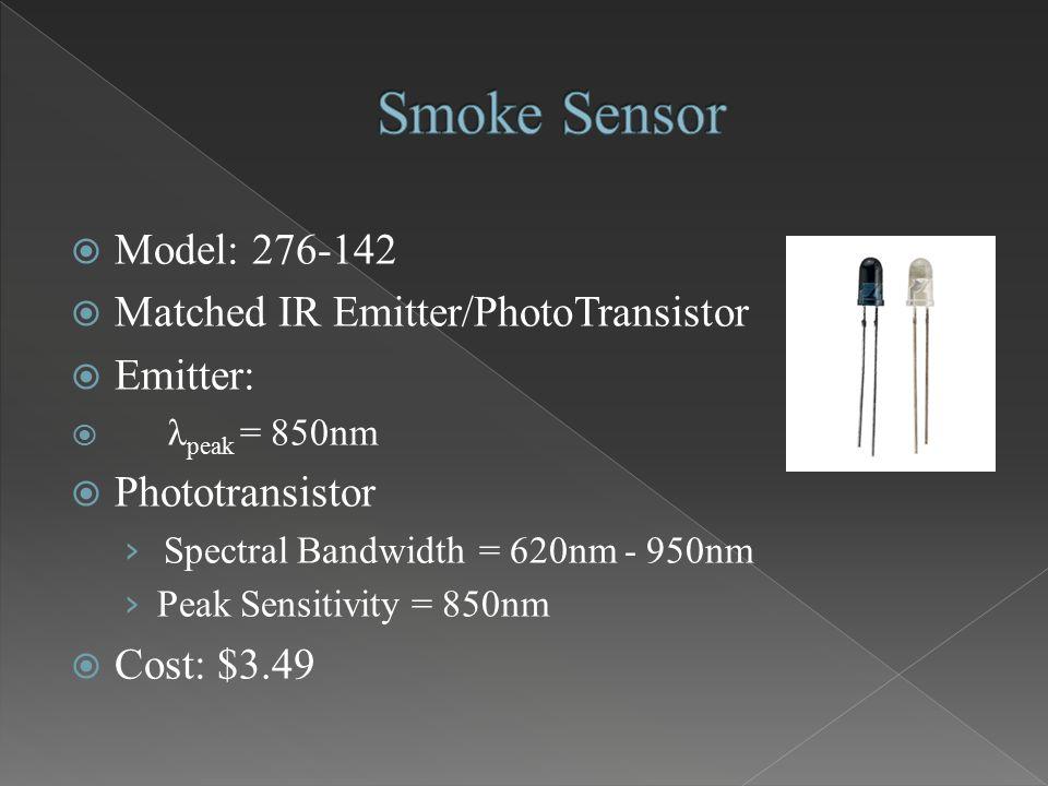  Model: 276-142  Matched IR Emitter/PhotoTransistor  Emitter:  λ peak = 850nm  Phototransistor › Spectral Bandwidth = 620nm - 950nm › Peak Sensit