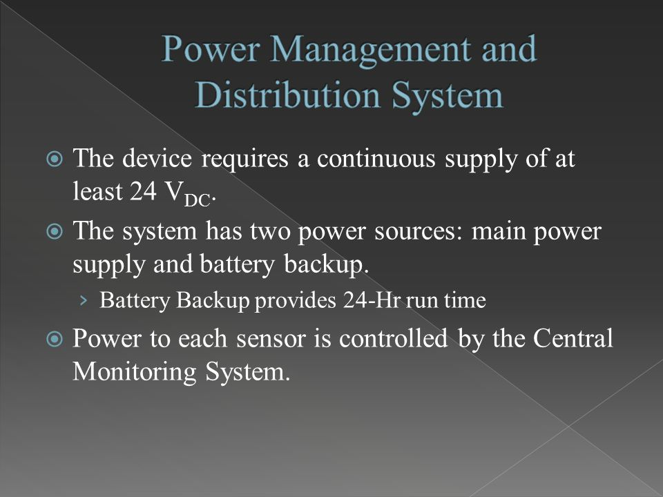  The device requires a continuous supply of at least 24 V DC.