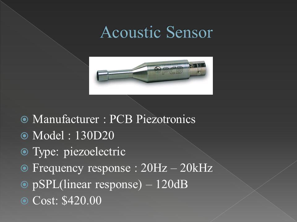 Manufacturer : PCB Piezotronics  Model : 130D20  Type: piezoelectric  Frequency response : 20Hz – 20kHz  pSPL(linear response) – 120dB  Cost: $