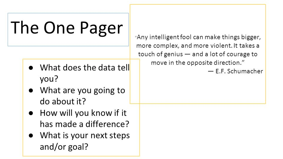 The One Pager ●What does the data tell you? ●What are you going to do about it? ●How will you know if it has made a difference? ●What is your next ste