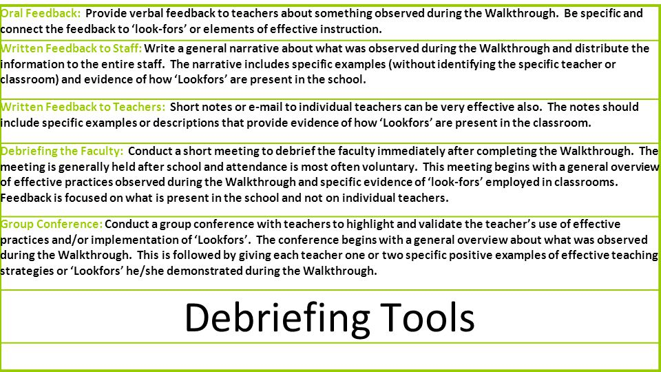 Oral Feedback: Provide verbal feedback to teachers about something observed during the Walkthrough. Be specific and connect the feedback to 'look-fors