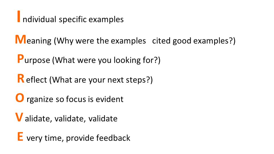 I ndividual specific examples M eaning (Why were the examples cited good examples?) P urpose (What were you looking for?) R eflect (What are your next