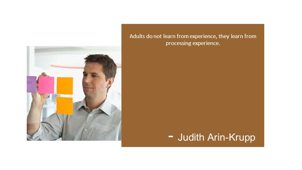 Adults do not learn from experience, they learn from processing experience. - Judith Arin-Krupp