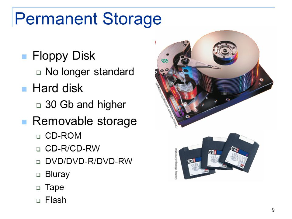 9 Permanent Storage Floppy Disk  No longer standard Hard disk  30 Gb and higher Removable storage  CD-ROM  CD-R/CD-RW  DVD/DVD-R/DVD-RW  Bluray  Tape  Flash