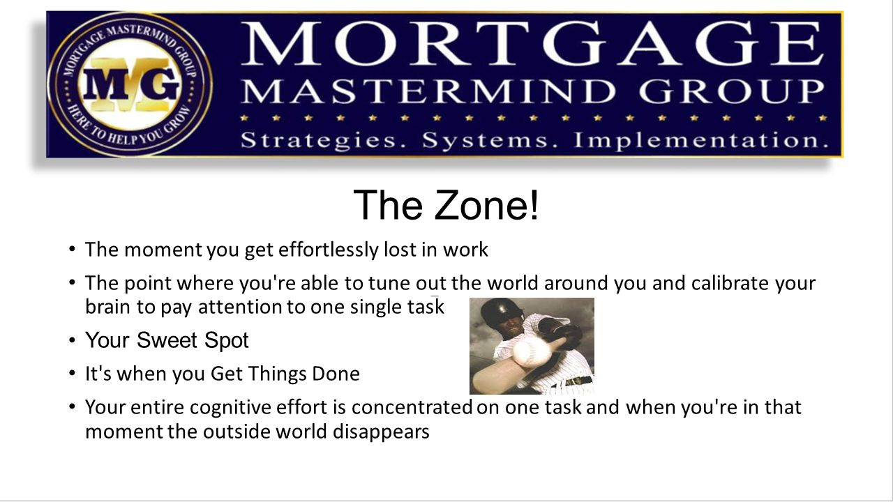 The Zone! The moment you get effortlessly lost in work The point where you're able to tune out the world around you and calibrate your brain to pay at