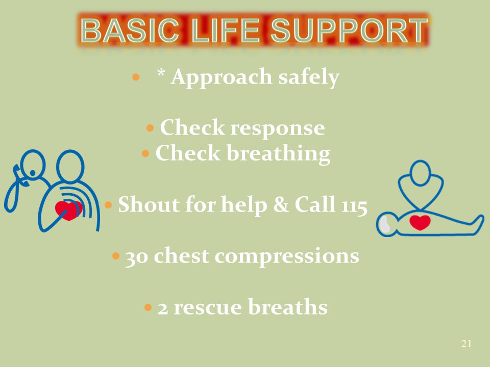 * Approach safely Check response Check breathing Shout for help & Call 115 30 chest compressions 2 rescue breaths 21