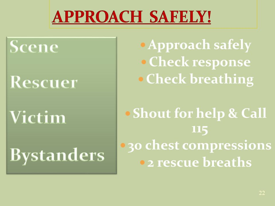 22 Approach safely Check response Check breathing Shout for help & Call 115 30 chest compressions 2 rescue breaths