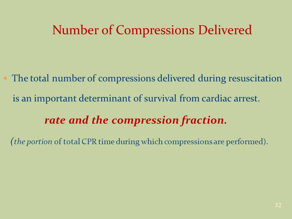 Number of Compressions Delivered The total number of compressions delivered during resuscitation is an important determinant of survival from cardiac