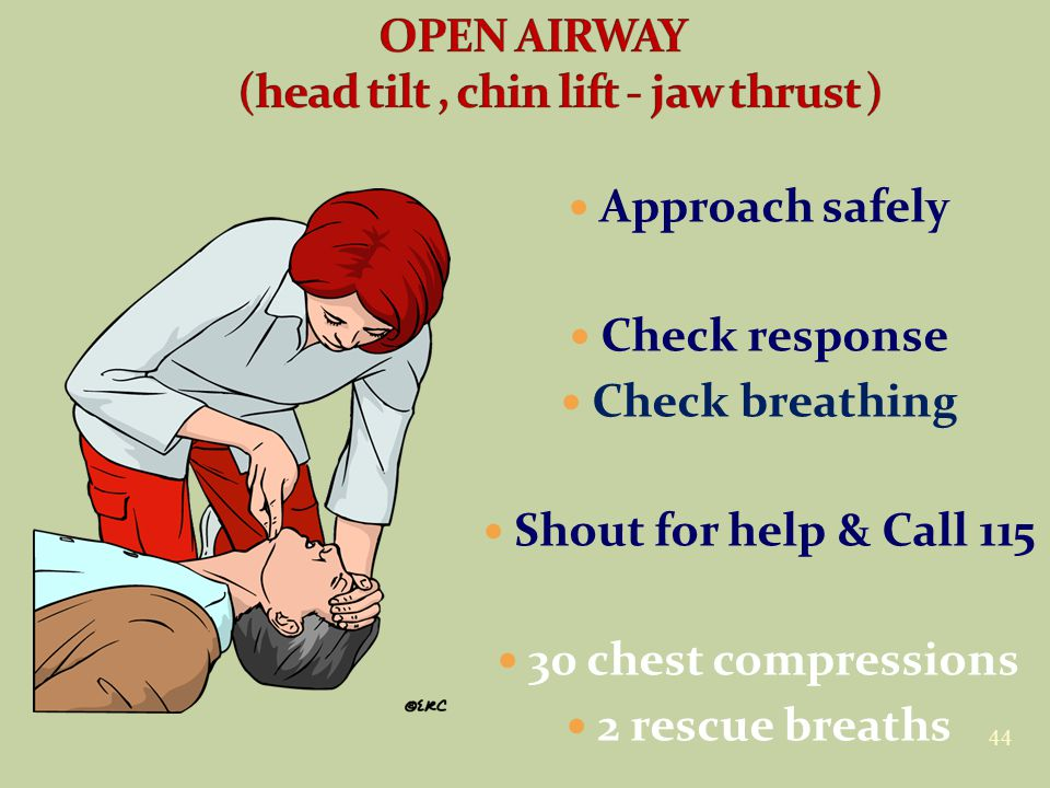 44 Approach safely Check response Check breathing Shout for help & Call 115 30 chest compressions 2 rescue breaths