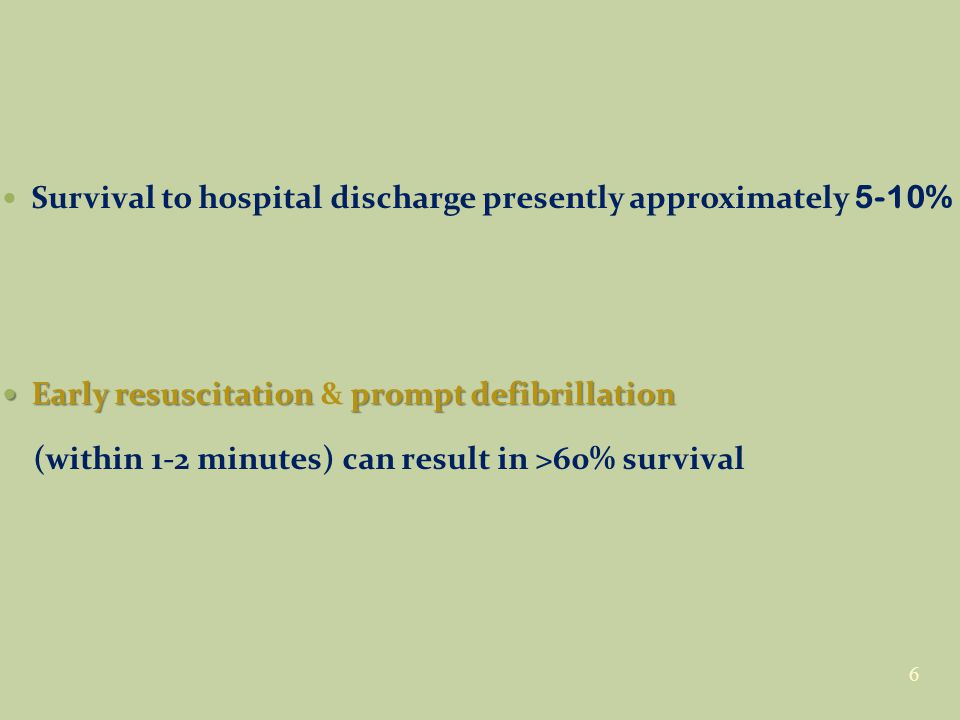Survival to hospital discharge presently approximately 5-10% Early resuscitation prompt defibrillation Early resuscitation & prompt defibrillation (within 1-2 minutes) can result in >60% survival 6