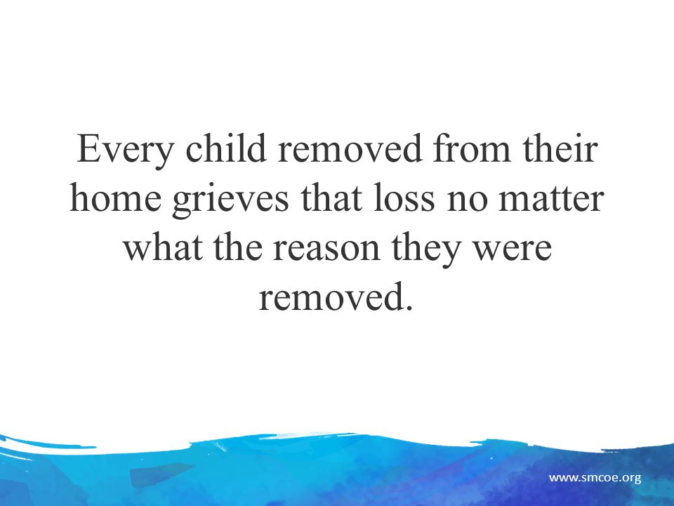 www.smcoe.org Every child removed from their home grieves that loss no matter what the reason they were removed.
