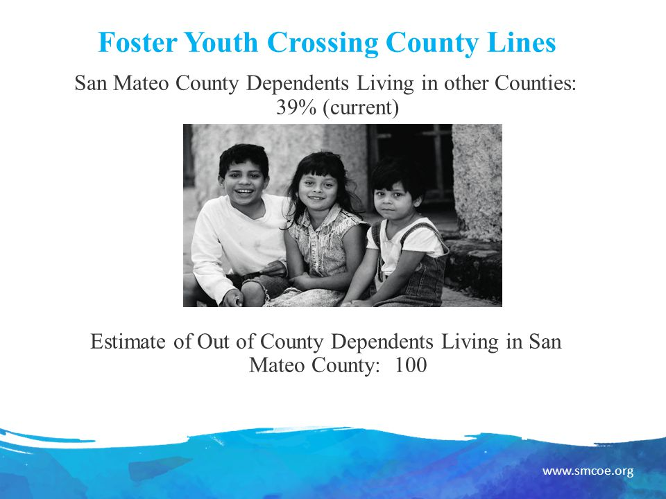 www.smcoe.org Foster Youth Crossing County Lines San Mateo County Dependents Living in other Counties: 39% (current) Estimate of Out of County Dependents Living in San Mateo County: 100