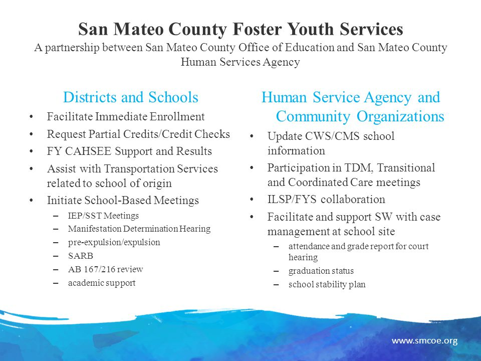 www.smcoe.org San Mateo County Foster Youth Services A partnership between San Mateo County Office of Education and San Mateo County Human Services Agency Districts and Schools Facilitate Immediate Enrollment Request Partial Credits/Credit Checks FY CAHSEE Support and Results Assist with Transportation Services related to school of origin Initiate School-Based Meetings – IEP/SST Meetings – Manifestation Determination Hearing – pre-expulsion/expulsion – SARB – AB 167/216 review – academic support Human Service Agency and Community Organizations Update CWS/CMS school information Participation in TDM, Transitional and Coordinated Care meetings ILSP/FYS collaboration Facilitate and support SW with case management at school site – attendance and grade report for court hearing – graduation status – school stability plan