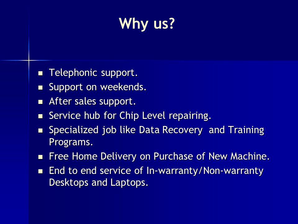 Telephonic support. Telephonic support. Support on weekends.