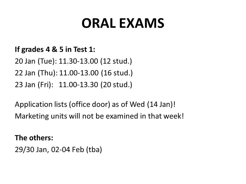 ORAL EXAMS If grades 4 & 5 in Test 1: 20 Jan (Tue): 11.30-13.00 (12 stud.) 22 Jan (Thu): 11.00-13.00 (16 stud.) 23 Jan (Fri): 11.00-13.30 (20 stud.) Application lists (office door) as of Wed (14 Jan).