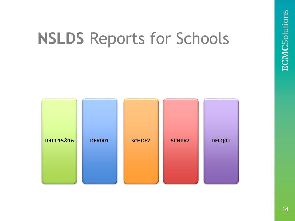14 NSLDS Reports for Schools