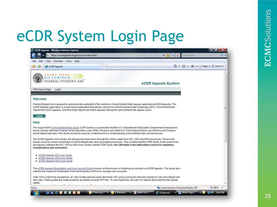 25 eCDR System Login Page