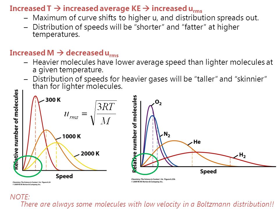 Increased T  increased average KE  increased u rms –Maximum of curve shifts to higher u, and distribution spreads out. –Distribution of speeds will