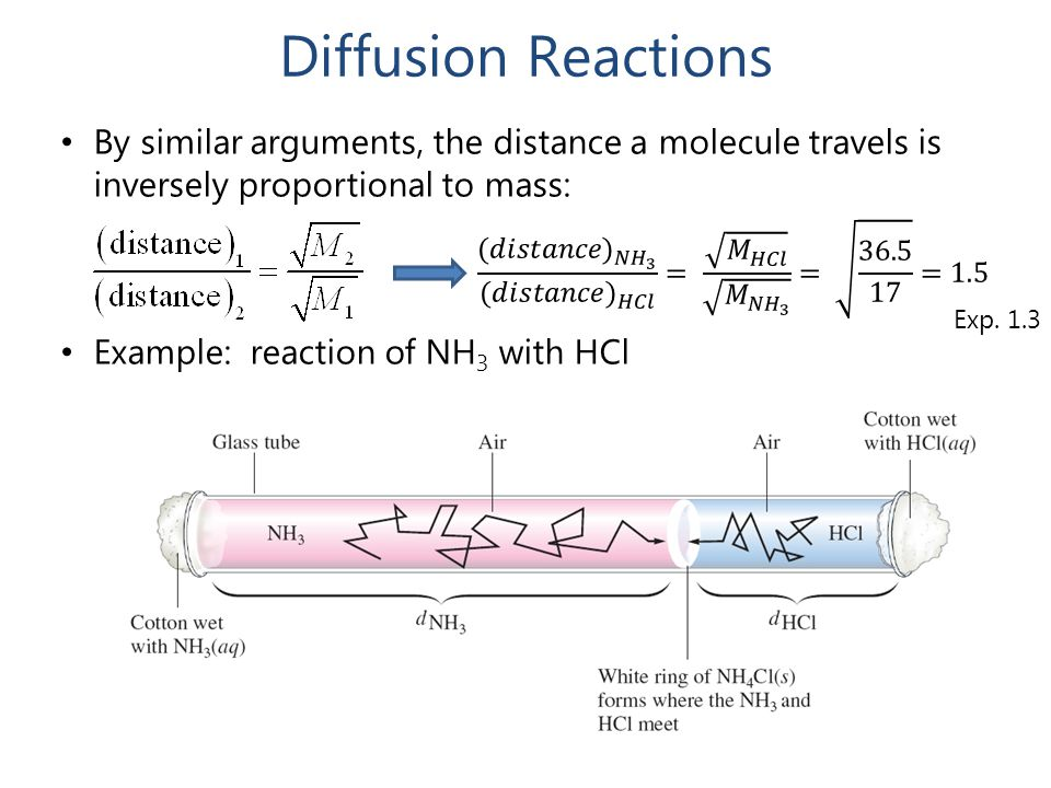 Diffusion Reactions By similar arguments, the distance a molecule travels is inversely proportional to mass: Example: reaction of NH 3 with HCl Exp. 1