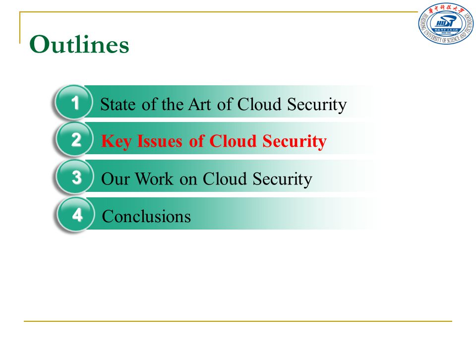 Outlines Our Work on Cloud Security 3 Key Issues of Cloud Security 2 State of the Art of Cloud Security 1 Conclusions 4