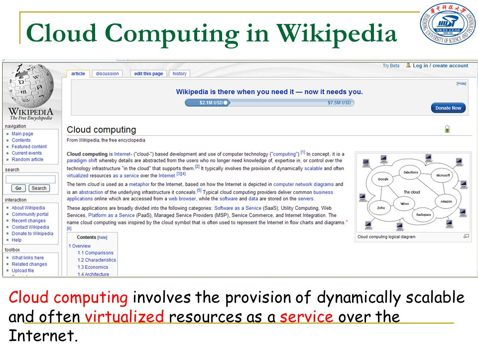 Cloud Computing in Wikipedia Cloud computing involves the provision of dynamically scalable and often virtualized resources as a service over the Inte