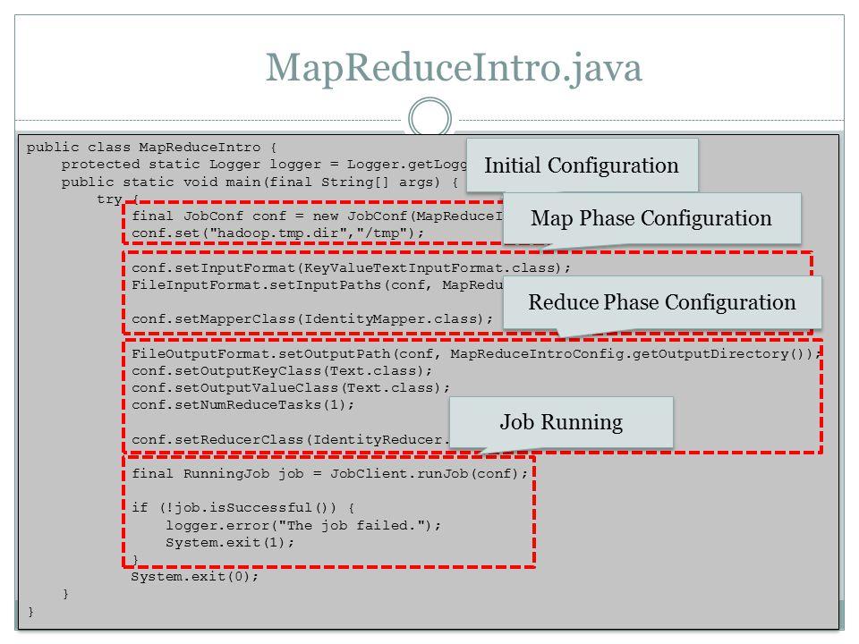 MapReduceIntro.java public class MapReduceIntro { protected static Logger logger = Logger.getLogger(MapReduceIntro.class); public static void main(final String[] args) { try { final JobConf conf = new JobConf(MapReduceIntro.class); conf.set( hadoop.tmp.dir , /tmp ); conf.setInputFormat(KeyValueTextInputFormat.class); FileInputFormat.setInputPaths(conf, MapReduceIntroConfig.getInputDirectory()); conf.setMapperClass(IdentityMapper.class); FileOutputFormat.setOutputPath(conf, MapReduceIntroConfig.getOutputDirectory()); conf.setOutputKeyClass(Text.class); conf.setOutputValueClass(Text.class); conf.setNumReduceTasks(1); conf.setReducerClass(IdentityReducer.class); final RunningJob job = JobClient.runJob(conf); if (!job.isSuccessful()) { logger.error( The job failed. ); System.exit(1); } System.exit(0); } public class MapReduceIntro { protected static Logger logger = Logger.getLogger(MapReduceIntro.class); public static void main(final String[] args) { try { final JobConf conf = new JobConf(MapReduceIntro.class); conf.set( hadoop.tmp.dir , /tmp ); conf.setInputFormat(KeyValueTextInputFormat.class); FileInputFormat.setInputPaths(conf, MapReduceIntroConfig.getInputDirectory()); conf.setMapperClass(IdentityMapper.class); FileOutputFormat.setOutputPath(conf, MapReduceIntroConfig.getOutputDirectory()); conf.setOutputKeyClass(Text.class); conf.setOutputValueClass(Text.class); conf.setNumReduceTasks(1); conf.setReducerClass(IdentityReducer.class); final RunningJob job = JobClient.runJob(conf); if (!job.isSuccessful()) { logger.error( The job failed. ); System.exit(1); } System.exit(0); } Initial Configuration Map Phase Configuration Reduce Phase Configuration Job Running