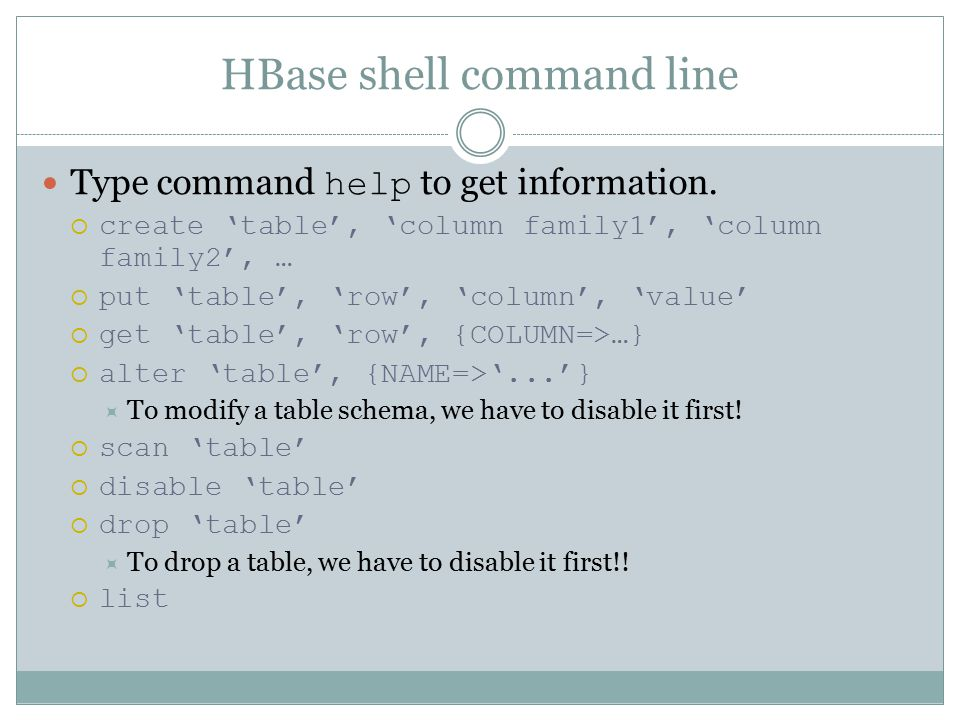HBase shell command line Type command help to get information.