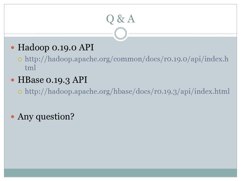 Hadoop 0.19.0 API  http://hadoop.apache.org/common/docs/r0.19.0/api/index.h tml HBase 0.19.3 API  http://hadoop.apache.org/hbase/docs/r0.19.3/api/index.html Any question?