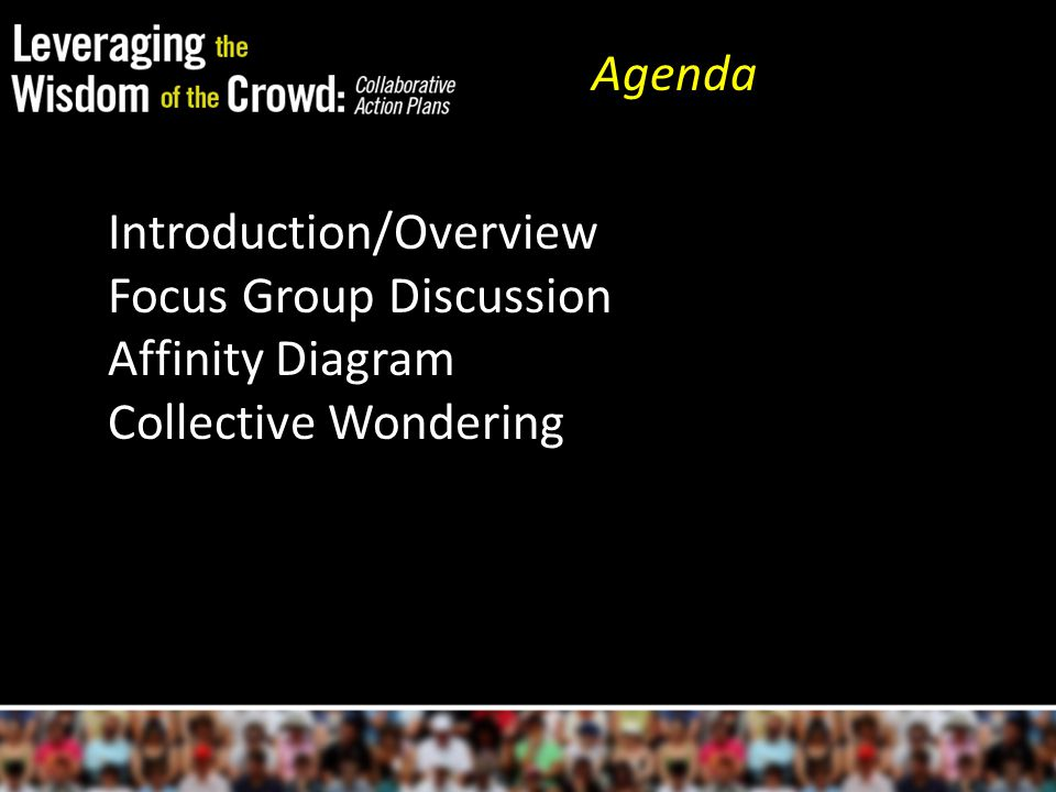 Introduction/Overview Focus Group Discussion Affinity Diagram Collective Wondering Agenda