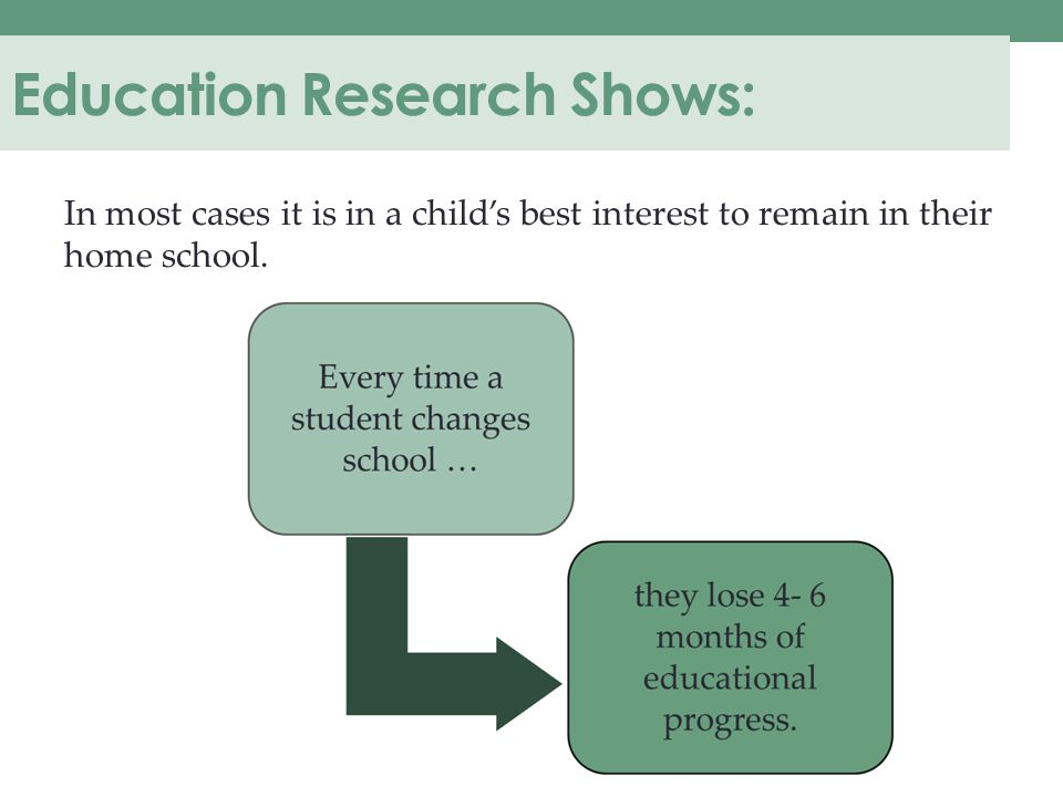 Education Research Shows: In most cases it is in a child's best interest to remain in their home school.