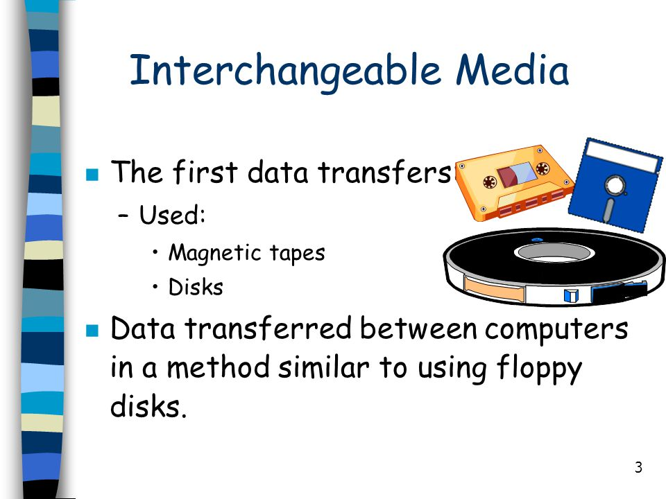 3 Interchangeable Media n The first data transfers: –Used: Magnetic tapes Disks n Data transferred between computers in a method similar to using flop