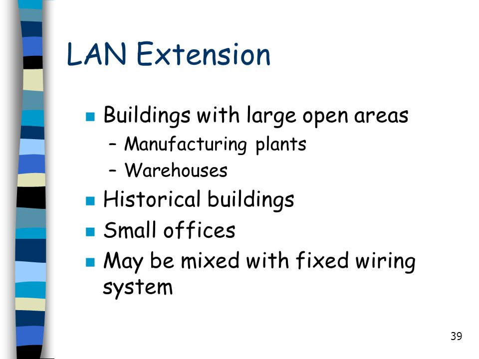 39 LAN Extension n Buildings with large open areas –Manufacturing plants –Warehouses n Historical buildings n Small offices n May be mixed with fixed