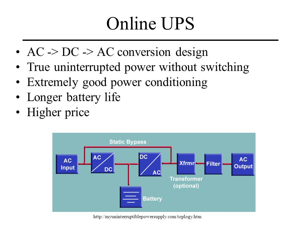 Online UPS AC -> DC -> AC conversion design True uninterrupted power without switching Extremely good power conditioning Longer battery life Higher price http://myuninterruptiblepowersupply.com/toplogy.htm