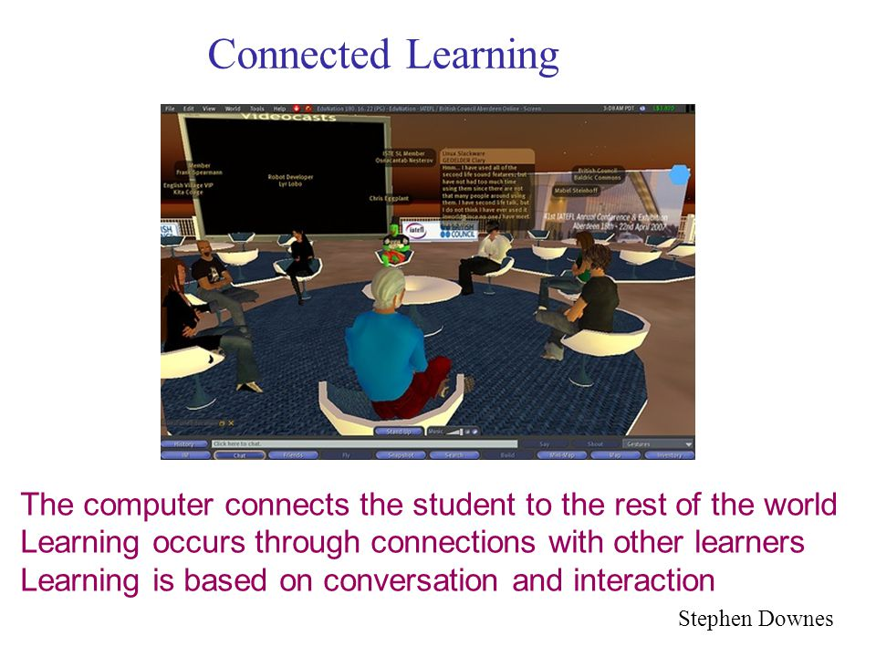 Connected Learning The computer connects the student to the rest of the world Learning occurs through connections with other learners Learning is based on conversation and interaction Stephen Downes