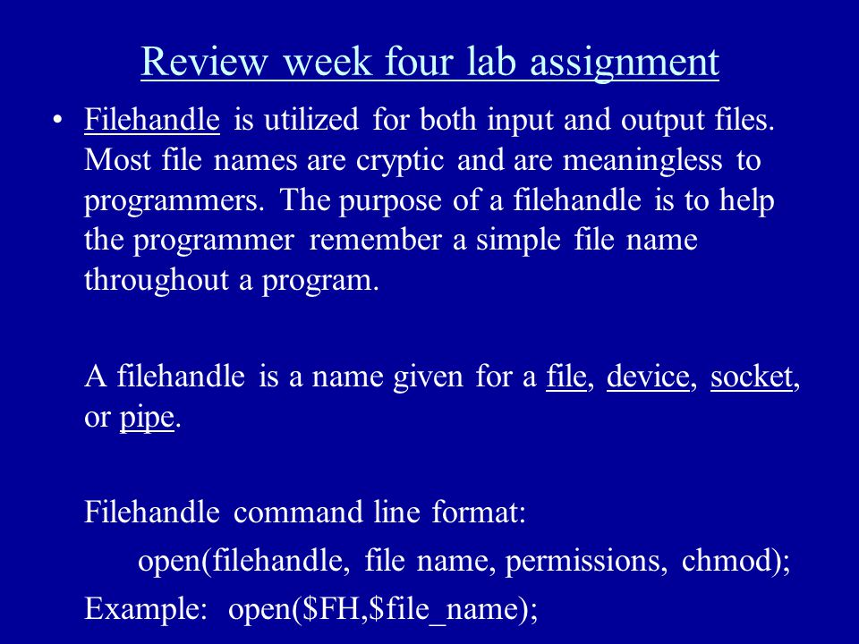 Review week four lab assignment Filehandle is utilized for both input and output files. Most file names are cryptic and are meaningless to programmers