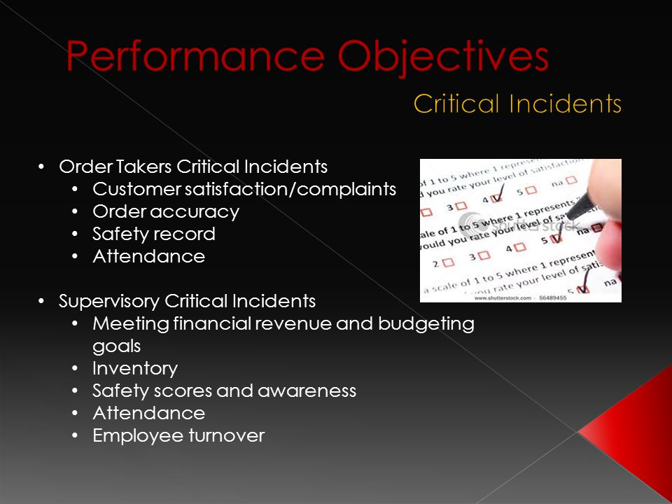 Order Takers Critical Incidents Customer satisfaction/complaints Order accuracy Safety record Attendance Supervisory Critical Incidents Meeting financ