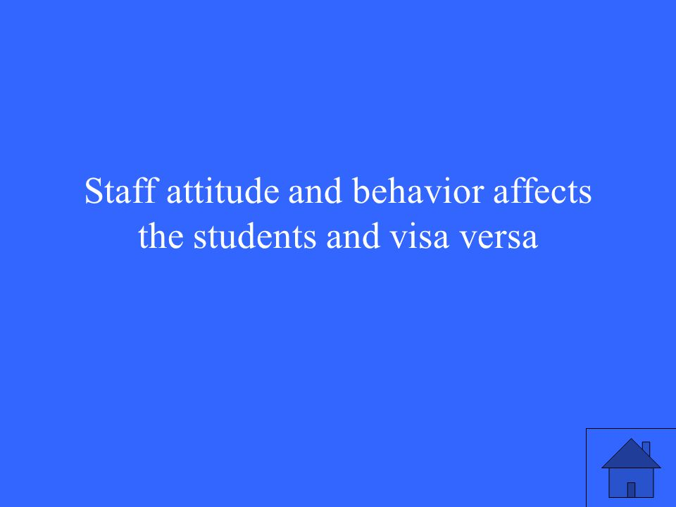Staff attitude and behavior affects the students and visa versa