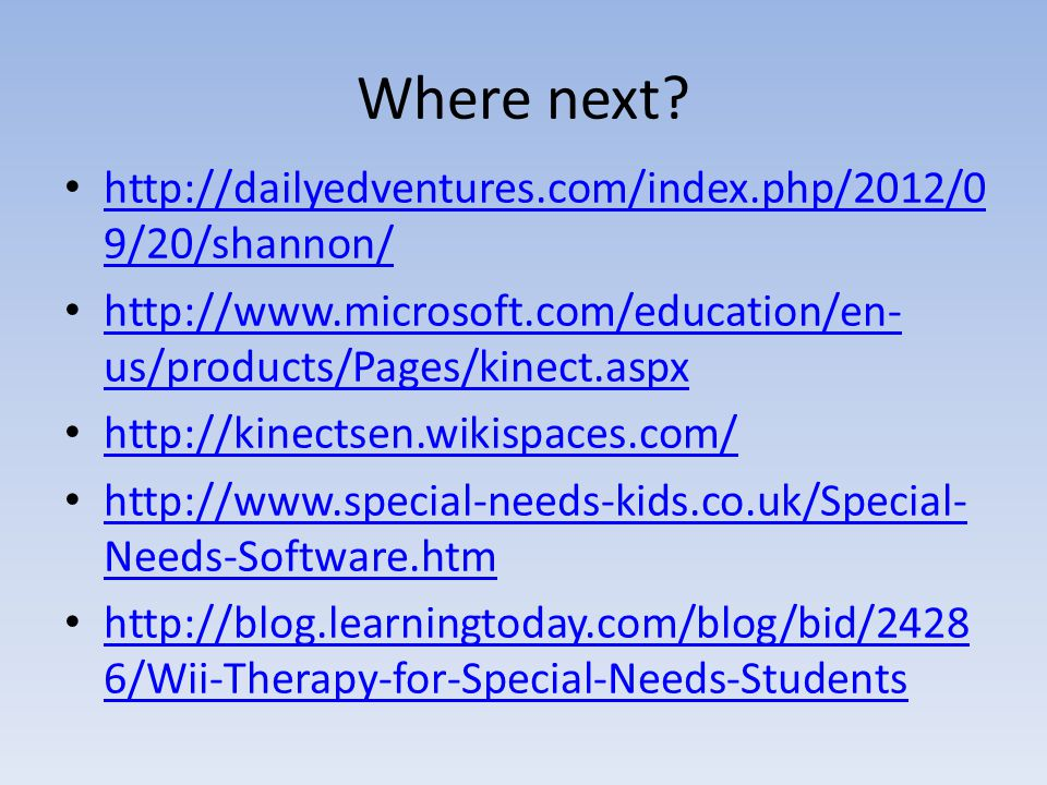 Where next? http://dailyedventures.com/index.php/2012/0 9/20/shannon/ http://dailyedventures.com/index.php/2012/0 9/20/shannon/ http://www.microsoft.c