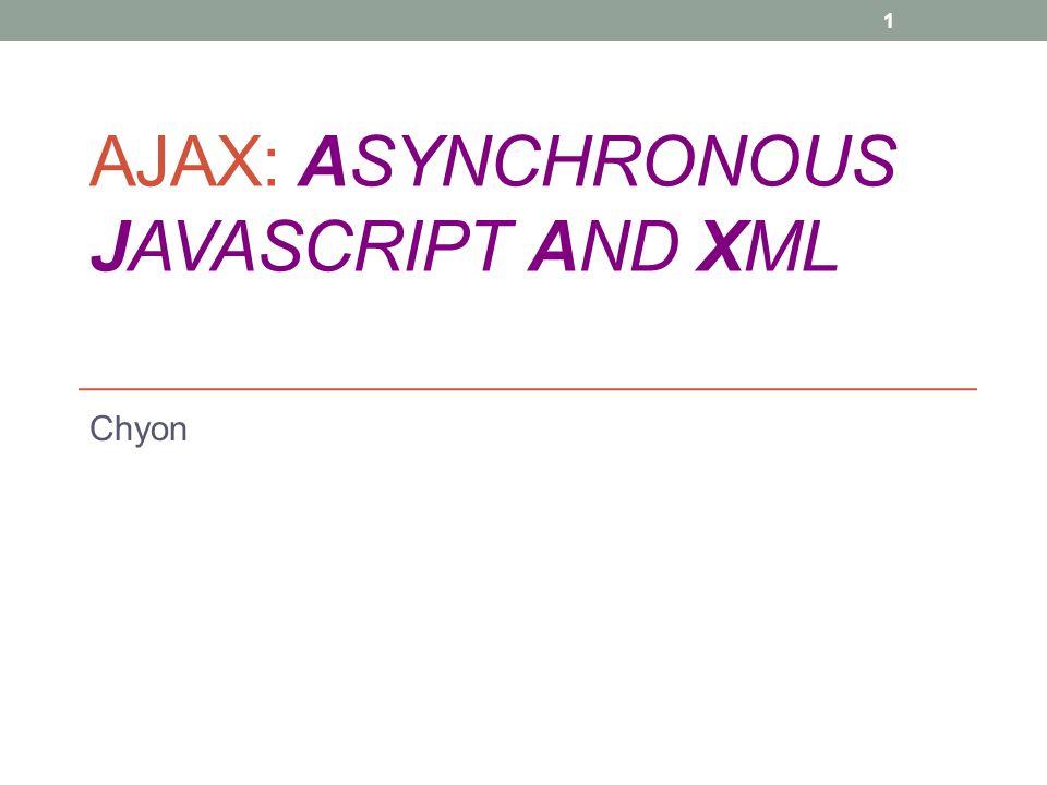 AJAX: ASYNCHRONOUS JAVASCRIPT AND XML Chyon 1