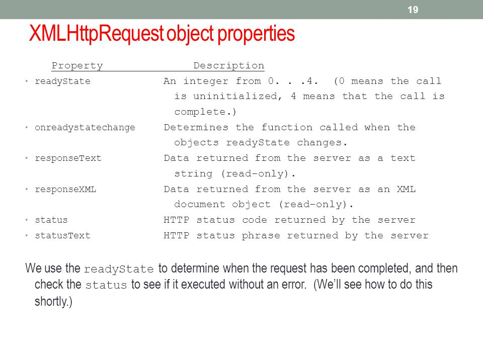 XMLHttpRequest object properties Property Description readyState An integer from 0...4. (0 means the call is uninitialized, 4 means that the call is c