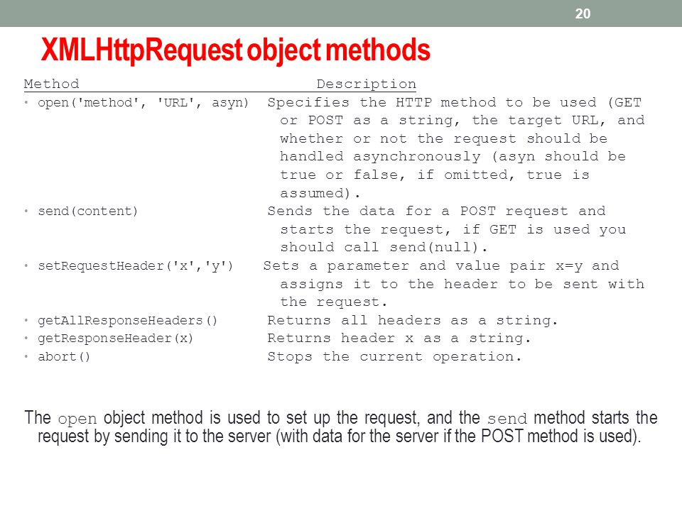 XMLHttpRequest object methods Method Description open('method', 'URL', asyn) Specifies the HTTP method to be used (GET or POST as a string, the target