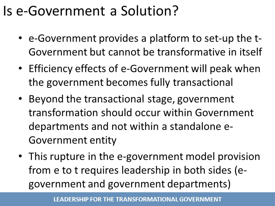 LEADERSHIP FOR THE TRANSFORMATIONAL GOVERNMENT Is e-Government a Solution.